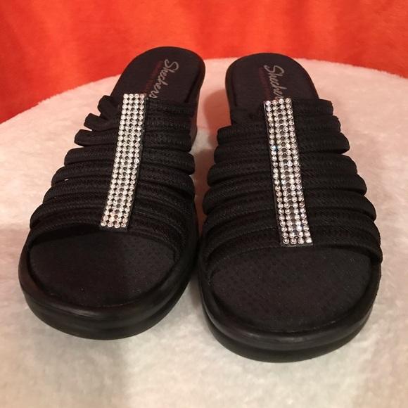 Black Sketcher Slide In Sandals | Poshmark